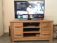 Solid Oak TV stand AV Unit with storage