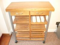WOODEN KITCHEN TROLLEY/WINE RACK DRAWER UNIT