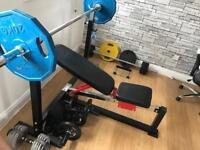 Weights plates and bench
