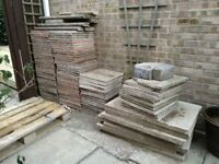 """Paving stones (various sizes), edging, and pallet: """"If you can haul it, you can have it"""""""
