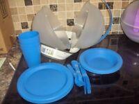 26 Piece Plastic Picnic Camping Dinner Plate Mug Cutlery2 bowls bnib.
