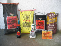Charcoal, briquettes, lighter cubes + fluid for BBQ Barbecue Barbeque