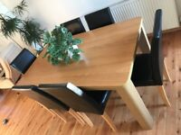 Argos Oak effect 5' x 3' dining table & 6 chairs, very good condition