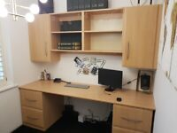 Light Beech Matching Desk, File Drawers, Wall Mounted Cabinets And Shelves