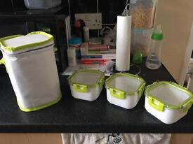 3 lunch boxes and carry lunch bag