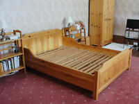 Pine double bed frame by Hamlet. Slatted base. Good condition.