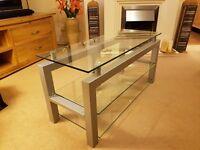 TV stand - glass and steel (matt)