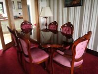 Inlaid Italian design dining table & 6 chairs
