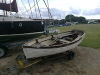 Fibreglass 13ft Rowing Boat/Dinghy, Clinker Style + Trailer