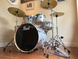 Pearl Export Drum Kit Arctic White Sparkle PAISTE Cymbals
