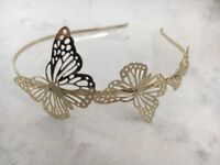 Beautiful Gold Butterfly Hairband Wedding Party