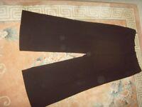 LADIES BLACK WIDE LEG TROUSERS,SIZE 14 - £1
