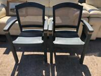 2 x Green garden chairs