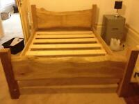 Hand crafted solid oak double bed