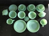 Vintage Anchor Hocking Fire King Jadeite Jane Ray Collection
