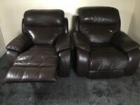 2 Faux Brown Leather Reckining Arm Chairs