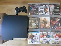 Playstation 3 Slim *Almost new & excellent condition*, 9 GAMES, DualShock 3 +GIFT 20 MOVIES+2 bags