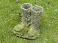 Vintage Wellington Boots Cast Stone Garden Planter Nicely Weathered