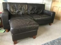 Brown leather sofas - 3 seater & 2 seater & storage footstool - good condition £50 ONO