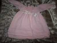 Hand knitted baby girl dress 3-6mths