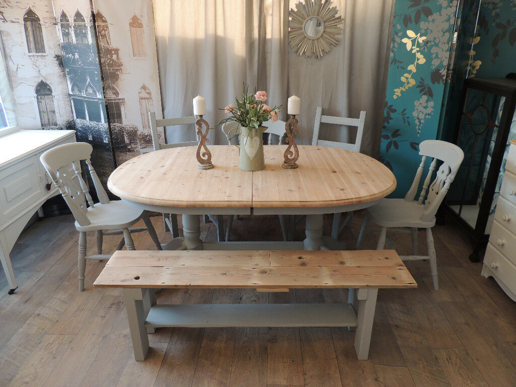 6761c9f229 Shabby chic farmhouse style dining table with bench and 5 chairs | in ...
