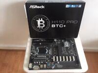 ASRock Intel H110 Pro BTC+ 13 PCIe Cryptocoin Mining ATX Motherboard - Like New!!