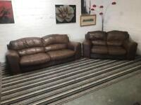 Amazing real brown brown leather sofa set