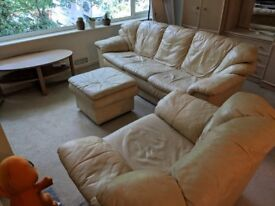 Cream leather sofas set (3-seater + chair + footrest)