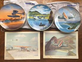 Vintage Pan Am plates and menu from 1979-80