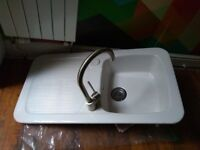 Double ceramic kitchen sink + brushed chrome swivel tap - only 2 years old