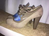 Miss selfridge lace heels taupe size 6