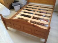 """DOUBLE 4' 6"""" PINE WOOD BED FRAME IN EXCELLENT CONDITION, INCLUDES BEDHEAD AND FOOTER BOARD"""