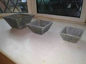 3x small solid slate garden pots.