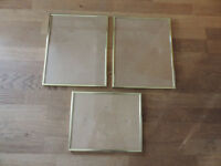 3 x Metal Gold Coloured Picture Frames