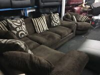 New/Ex Display Dfs Cord Half Leather Group Sofa + Cuddle, Swivel, Love Chair