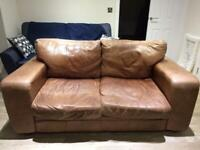 Free brown leather 2 seater sofa and chair