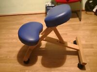 Equipment for exercising at home with nice solid wood, blue leather cushion, London SE8 £15