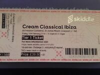 Cream Classics ticket Friday 16th Feb liverpool Cathedral