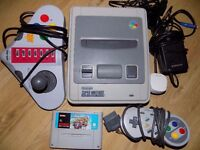 nintendo snes controller with mario kart and leads working