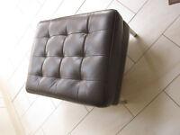 Brown Leather Footstool (Karlstad Ikea Design)