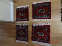 2 sets of Handwoven Carpet style table Mats - Imported