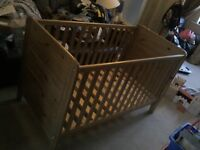 Antique stain cotbed with underbed storage drawer