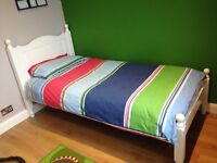 Bed single solid wood, wooden slats excellent solid painted white