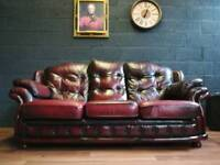 Button Trim 3 Seater Vintage Leather Ox Blood Chesterfield