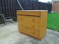 Vintage retro oak 4 drawer chest/sideboard