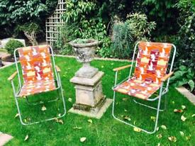 2 LOVELY VINTAGE DECK CAMPING CHAIRS