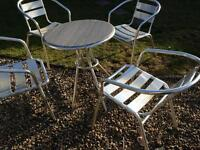 Bistro table & 4 chairs chrome effect garden pub cafe