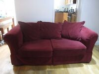 Burgundy, velvet, 2 seater sofa and armchair, machine washable loose covers
