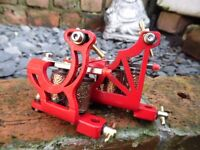 PAIR OF HAND BUILT RED POWDER COATED FRAME TATTOO MACHINES LINER & SHADER