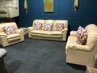 Cream leather suite 3 seater 2 seater and armchair